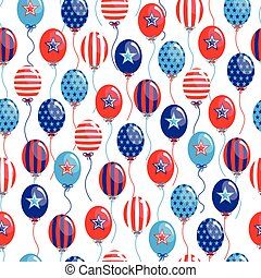 vector 4th of July seamless pattern with balloons