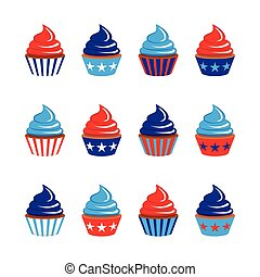vector set of twelve cupcakes in blue and red colors