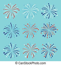 vector set of nine fireworks in blue, red and white colors