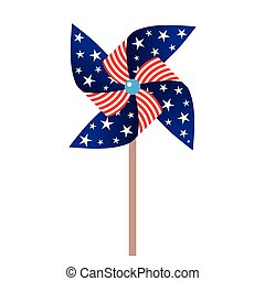 vector illustration of pinwheel with american symbolics