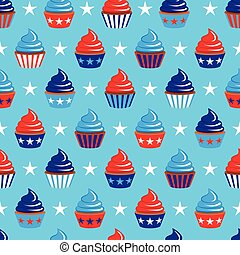 vector 4th of July seamless pattern with cupcakes