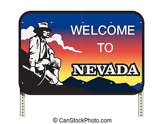 Nevada welcome road sign - Vector illustration of the Nevada...