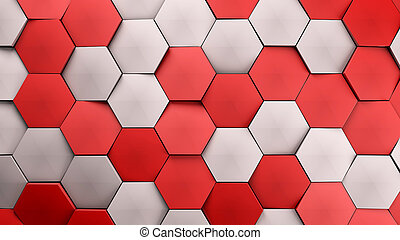 red and white displaces hexagons background.3d illustration render.