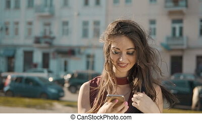 Woman Makes Phone Call - Young sexy brunette makes phone...