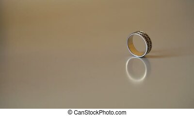 Wedding rings on a table closeup