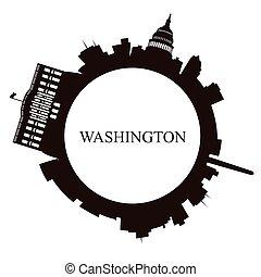 Isolated Washington skyline on a white background, Vector...