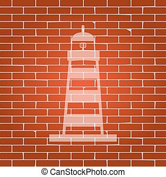 Lighthouse sign illustration. Vector. Whitish icon on brick wall as background.