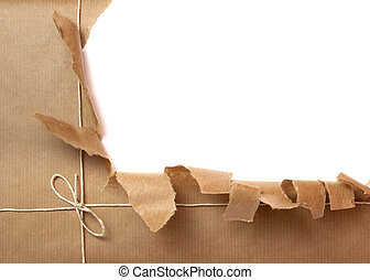 box package wrap - close up of package ripped on white...