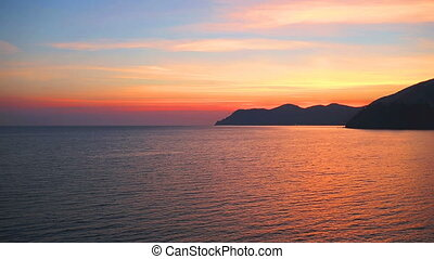 Beautiful sunset and rocky coast,Cinque Terre National...