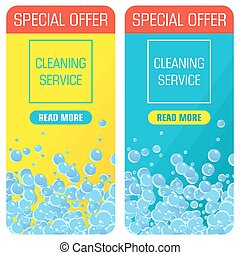 soap bubble bannres - Banners with bubbles soap foam washing...