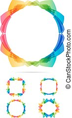 Colorful frame set - Abstract multicolored frames on white...