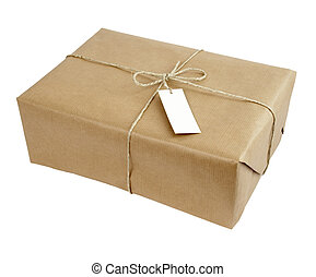 box package wrap - close up of carton box post package on...