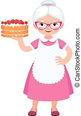 Grandma housewife in full length holds a baked beautiful cake