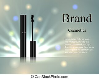 cosmetics mascara on the delicate background with rays and spots of light. Design, advertising, banner, vector realistic 3D