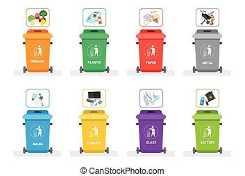 Rubbish Container For Sorting Waste Icon Set Recycle Garbage...