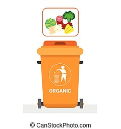 Rubbish Container For Organic Waste Icon Recycle Sorting...