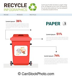 Rubbish Container For Paper Waste Infographic Banner Recycle Sorting Garbage Concept