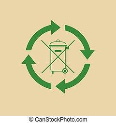 Rubbish Bin With Recycle Symbol Green Arrows Logo Web Icon...