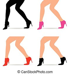 woman legs in fashion shoes set illustration
