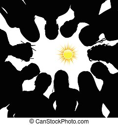 people silhouette with sun illustration