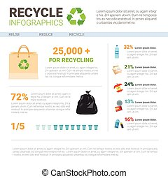 Recycle Infographic Banner Waste Gathering Sorting Garbage...