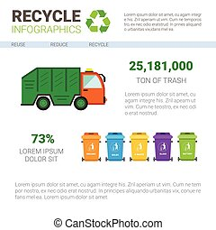Recycle Infographic Banner Waste Truck Transportation...