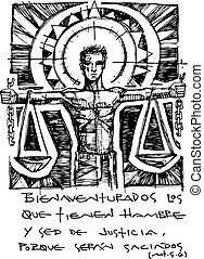 Illustration of a Christian biblical beatitude - Hand drawn...