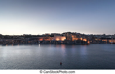 Old city - Night view of the old city from the habor in...