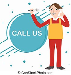 call us mechanic technician phone service standing character cartoon