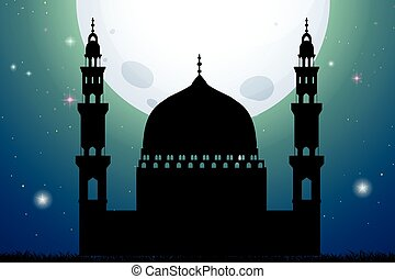 Silhouette mosque at night time illustration