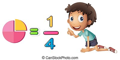 Boy learning fraction on white background