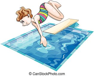 Woman jumping in the pool