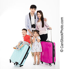 happy family with suitcase going on vacation