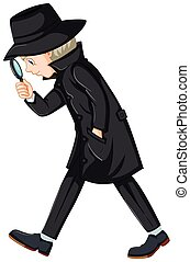 Detective in black overcoat holding magnifying glass...