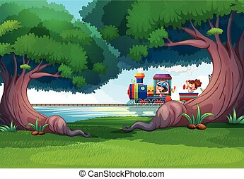 Forest scene with kids on the train