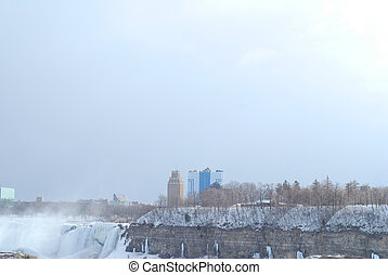 Niagara Falls with view of American Falls in winter time