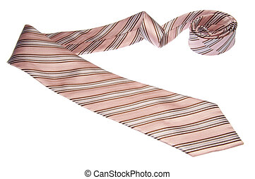 A brown, pink and blue tie isolated on a white background with a clipping path.