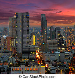 Twilight view of Bangkok.