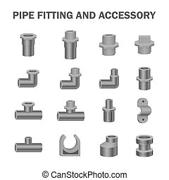 pipe fitting vector - Vector icon of pipe fitting or pipe...