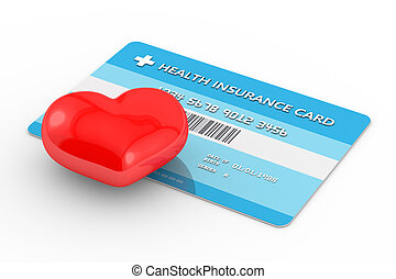 3d render of health insurance card with heart. All personal...
