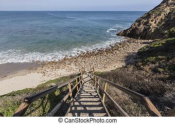 Public Beach Stairs at Dume Cove in Malibu - Public beach...