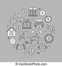 Leasing round creative illustration - vector money and...