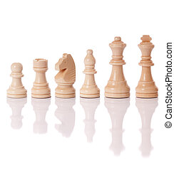 Chess pieces - A set of white chess pieces isolated on a...
