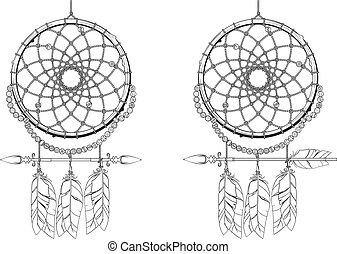 Dreamcatcher - Indian mascot Dream catcher protecting the...