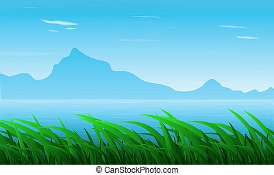 Landscape of grass against the background of the river and mountains