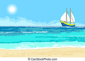 Summer sea view with sailboat background