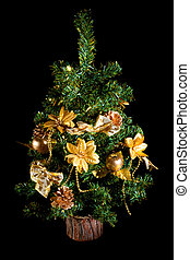 Christmas tree, on a black background