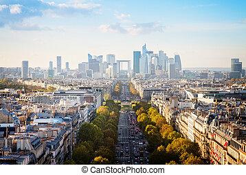 skyline of Paris, France - skyline of Paris city towards La...