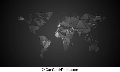 Black tech polygonal world map video animation. Corporate...