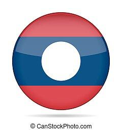 Flag of Laos. Shiny round button.